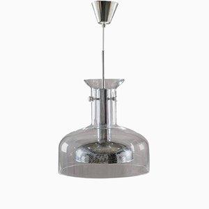 Lámpara colgante Crystal de vidrio y cromo de Anders Pehrson para Ateljé Lyktan, años 70