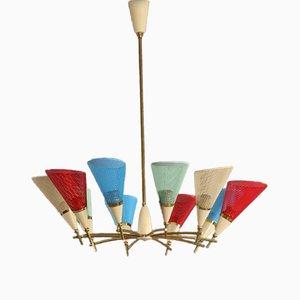 Lámpara de techo italiana colorida, años 50