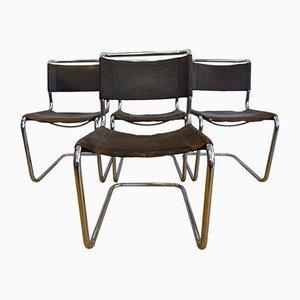 Braune S33 Verchromte Büffelleder Esszimmerstühle von Mart Stam für Thonet, 1926, 4er Set