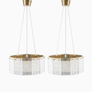 Lámparas colgantes suecas de vidrio y latón de Paul Kedelv para Fåglavik, años 60. Juego de 2