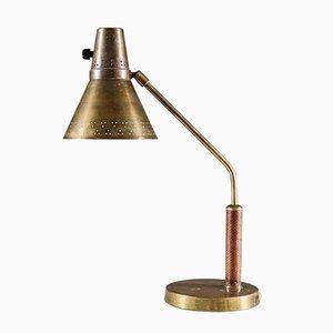 Lámpara de escritorio escandinava de latón de AB E. Hansson & Co, años 40