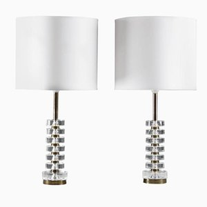 Swedish Crystal Glass Table Lamps by Carl Fagerlund for Orrefors, 1960s, Set of 2