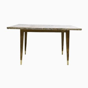 Italian Beech Coffee Table with Marble Top, 1950s