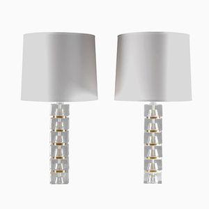 Lampes de Bureau Mid-Century en Verre et Laiton, Set de 2