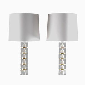 Swedish Mid-Century Table Lamps in Glass and Brass, Set of 2