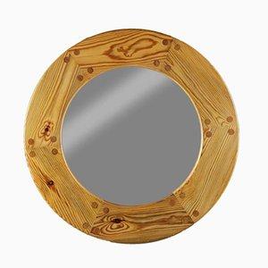 Espejo sueco Mid-Century redondo de pino