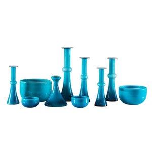 Recipientes escandinavos vintage de vidrio azul de Per Lutken para Holmegaard. Juego de 10