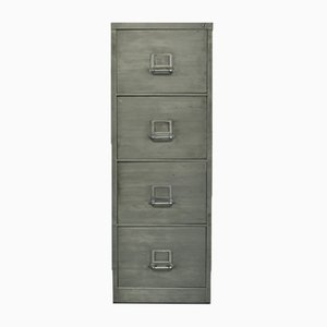 Vintage Polished Steel 4-Drawer Filing Cabinet