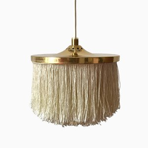 Swedish T609 Brass & Silk Fringe Pendant Light by Hans-Agne Jakobsson, 1960s