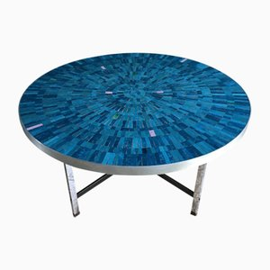 Mesa de centro alemana en azul de mosaico de Berthold Müller-Oerlinghausen, años 60