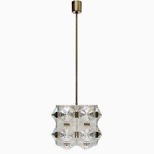 Lampe à Suspension Mid-Century Cubique en Verre de Kamenicky Senov