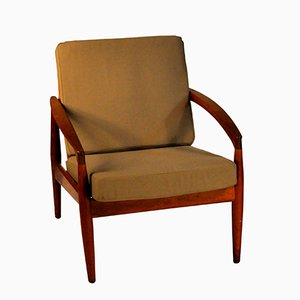 Mid-Century Paper Knife Armchair in Teak and Green Fabric by Kai Kristiansen for Magnus Olsen