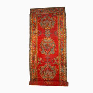 Alfombra de pasillo Oushak turca antigua hecha a mano, década de 1890