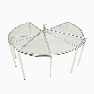 Adjustable Chrome Fan-Shaped Coffee Table, 1970s