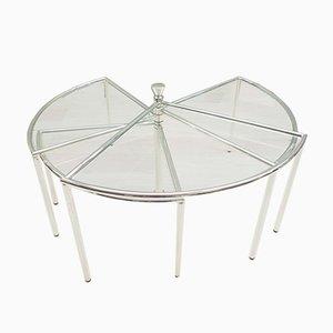 Mesa de centro ajustable en forma de abanico de cromo, años 70
