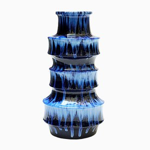 Blue Dripping Vase by Scheurich, 1960s