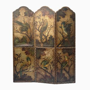 Antique Leather Screen with Birds and Floral Decoration