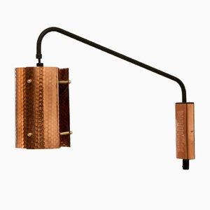 Lámpara de pared Mid-Century de cobre, años 60