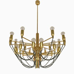 German Brass Chandelier from Staff, 1980s