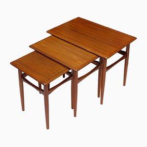 Tavolini ad incastro in teak impiallacciato di Kai Kristiansen