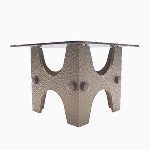 Petite Table Basse Brutaliste en Bronze Finition Martelée, 1960s