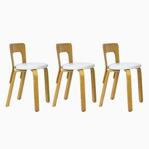 Sillas modelo 65 de Alvar Aalto para Artek, años 70. Juego de 3