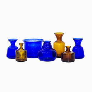 Swedish Glass Vases by Erik Höglund for Boda, 1950s, Set of 7