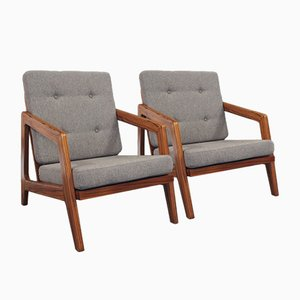 Mid-Century Rosewood & Grey Wool Easy Chairs, Set of 2