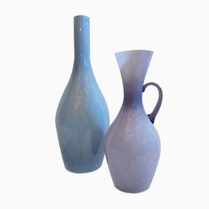 Schwedische Mid-Century Glasvasen von Ekenäs, 2er Set