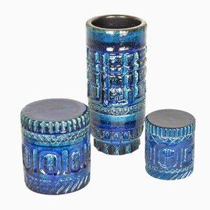 Vaso de tubo y cajas en azul de cerámica de Pol Chambost, años 50. Juego de 3
