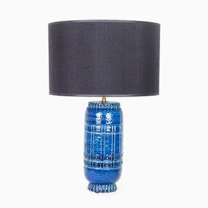 Lámpara modelo 1307 de cerámica en azul de Pol Chambost, años 50