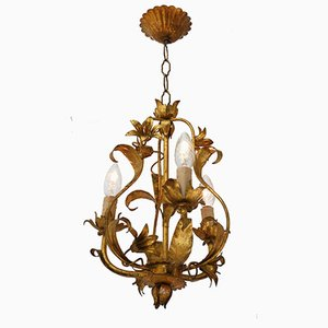 Mid-Century French Golden Toleware Chandelier, 1950s