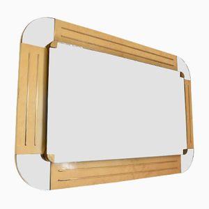 Espejo italiano vintage de madera de arce