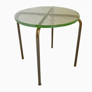 Table d'Appoint Vintage Moderniste en Laiton et Verre Cristal, France