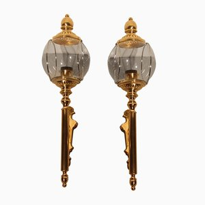 Italian Brass & Glass Wall Lights, 1950s, Set of 2