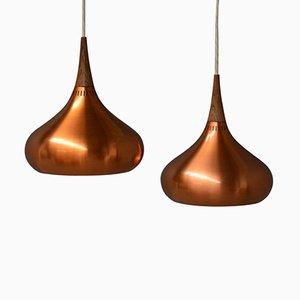 Lámparas colgantes vintage orientales de Jo Hammerborg para Fog & Mørup. Juego de 2