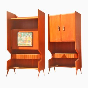 Italian Geometric Bar Cabinets, 1950s, Set of 2