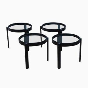 Black Chestnut Stacking Tables, 1960s, Set of 4