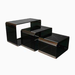 Tavolini a incastro di Romeo Rega per Metalarte, anni '70