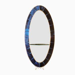 Miroir Bleu Cobalt avec Console de Cristal Art, Italie, 1960s