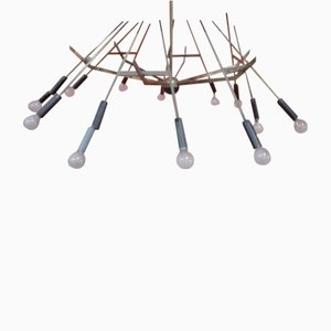 Italian Brass Chandelier by Oscar Torlasco, 1960s