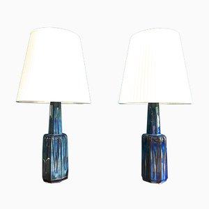 Lampada da tavolo vintage in ceramica di Einar Johansen per Soholm, Danimarca, set di 2