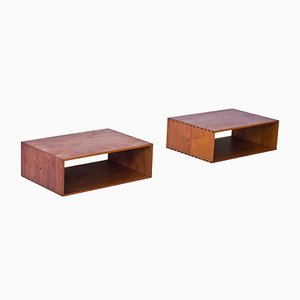 Hanging Vintage Bedside Tables by Uno & Östen Kristiansson for Luxus, Set of 2