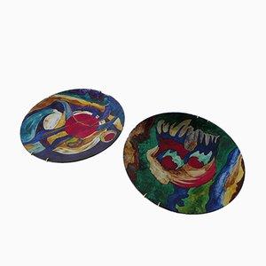 Platos decorativos abstractos, años 70. Juego de 2