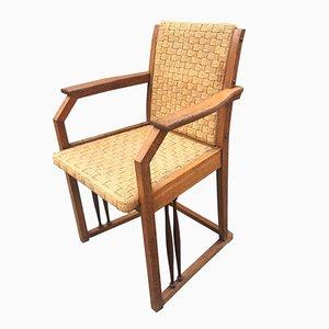 Jugendstil Armlehnstuhl aus Eichenholz und Strick, 1900er