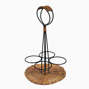 Mid-Century Rattan and Lacquered Metal Bottle Holder
