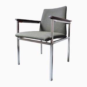Chrome and Rosewood Armchair by Sigvard Bernadotte, 1970s