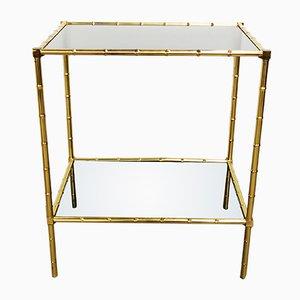 Mesa vintage pequeña de cristal ahumado y latón, años 50