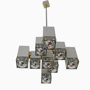 Lampadario cubico vintage in ottone spazzolato di Gaetano Sciolari
