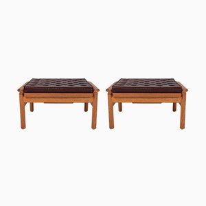 Vintage Ottomans with Padded Brown Leather Cushion, Set of 2